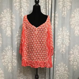 Lucky Brand Plus Size Sheer Red Peasant Blouse